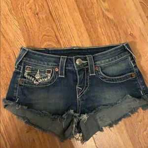 True religion cut off jean shorts size 25